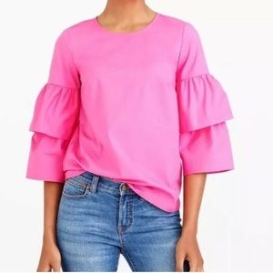 J. Crew Pink Tiered Bell Sleeve Top